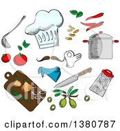 Clipart Of A Sketched Chefs Hat Vegetarian Salad With Tomato Onion Pepper Carrot And Olive Vegetables Royalty Free Vector Illustration