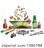 Clipart Of A Sketched Seafood Dish With Sauce Bottles And Chopsticks Whole Fish And Bowl With Pieces Of Tuna Shrimps And Mussels Olives And Vegetables Royalty Free Vector Illustration