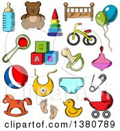 Clipart Of Sketched Toys Diaper Bottle Pacifier Rattle Stroller Cubes Ball Bed Bib Bicycle And Rocking Horse Royalty Free Vector Illustration by Vector Tradition SM