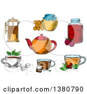 Clipart Of Sketched Tea Icons With Jars Honey And Raspberry Jam Desserts French Press Various Teacups With Tea Bag Sugar Cubes Fresh Leaves Of Mint And Cowberry With Porcelain Teapot Royalty Free Vector Illustration by Vector Tradition SM