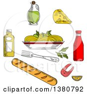 Clipart Of Sketched Spaghetti Sauce And Basil Encircled By Bottles Of Olive Oil Tomato And Mustard Sauces Fork Cheese Ciabatta Bread And Salmon Fish Royalty Free Vector Illustration