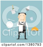 Clipart Of A Flat Design Male Waiter Surrounded By Dinner Set Champagne And Ice Bucket Ice Cream Sundae And Fried Chicken Silver Tray And Restaurant Bill On Blue Royalty Free Vector Illustration