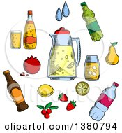 Sketched Beverages Alcohol And Drinks Icons Set With Juice And Beer Tea And Soda Cocktail And Mineral Water Berries And Fruits