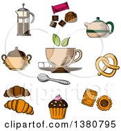 Clipart Of Sketched Tea Croissant Candy Pretzel And Chocolate Royalty Free Vector Illustration by Vector Tradition SM