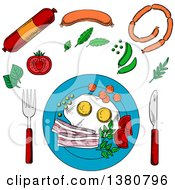 Sketched Breakfast With Fried Eggs And Bacon Served On Blue Plate With Cutlery Surrounded By Vegetables And Sausage