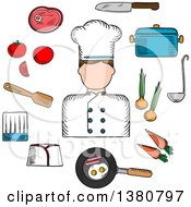Sketched Chef Profession With Cook In Uniform Surrounded By Fresh Tomato Onion And Carrot Pan With Eggs And Bacon With Knife Saucepan With Ladle And Meat Steak Chef Hats And Spatula