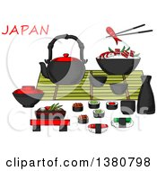 Clipart Of Sketched Japanese Seafood And Drinks Set With Sashimi And Sushi Rolls Below A Table Set With A Teapot Sake Fresh Salad Chopsticks And Bowl Of Rice And Prawns Royalty Free Vector Illustration