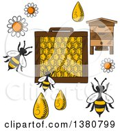 Clipart Of A Sketched Beehive Frame With Honeycombs And Bees Flying Around Flowers And Drops Of Honey On Orange Background With Text Beekeeping Royalty Free Vector Illustration by Vector Tradition SM
