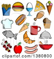 Clipart Of Sketched Food And Drinks Flat Icons Set With Pizza Sausages Burger Coffee Cup Cake Chicken Egg Ice Cream Hot Dog French Fries Apple Fish Carrot Croissant Barbecue Soup Chef Hat Tray Royalty Free Vector Illustration