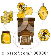 Clipart Of Sketched Beekeeping Items And Bees Royalty Free Vector Illustration by Vector Tradition SM