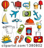 Clipart Of Sketched Travel Trip And Leisure Icons Set With Airplane And Luggage Passport And Sun Sea And Hotel Service Yacht And Anchor Cocktail And Hot Air Balloon Beach Umbrella And Toys Photo Camera And Diving Mask Royalty Free Vector Illust by Vector Tradition SM