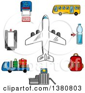 Sketched Airport Aviation And Airline Service Icons With Airplane Surrounded By Symbols Of Passport Control Metal Detector And Security Gate Baggage Service And Passenger Bus Drink And Hand Baggage