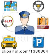Clipart Of A Sketched Driver Surrounded By Taxi Service Objects Such As Yellow Car Parking Sign And Luggage Steering Wheel And Navigation Map Royalty Free Vector Illustration