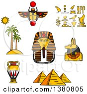 Clipart Of Sketched Giza Pyramids Golden Mask Of Pharaoh And Ancient Hieroglyphics Scarab Amulet And Anubis God Amphora And Landscape Of Palm Trees With Sun Royalty Free Vector Illustration by Vector Tradition SM