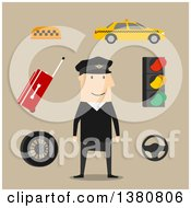 Clipart Of A Flat Design Taxi Driver Yellow Car And Luggage Steering Wheel And Navigation Map Traffic Light And Checkered Roof Sign On Brown Royalty Free Vector Illustration