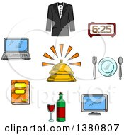 Clipart Of Sketched Travel And Hotel Luxury Service Icons With Reception Bell And High Quality Room Service Symbols Royalty Free Vector Illustration