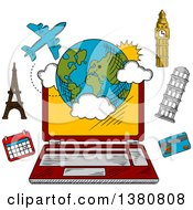 Clipart Of A Sketched Laptop Computer And Travel Booking Items Royalty Free Vector Illustration