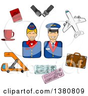 Sketched Stewardess And Pilot In Uniforms Surrounded Flight Pictograms Showing Passport Suitcase Plane Seat Belt Tickets And Cup Of Coffee
