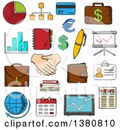 Clipart Of Sketched Business Finance And Office Icons With Financial Reports And Money Handshake And Chart Briefcases And Laptop News And Globe Calendar Pen And Organizer Royalty Free Vector Illustration by Vector Tradition SM