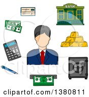 Clipart Of A Sketched Banker With Dollar Bills Stacked Gold Bars And Bank Check Bank Building And Calculator Pen ATM And Safe Royalty Free Vector Illustration
