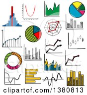 Clipart Of Sketched Graphs And Charts Royalty Free Vector Illustration by Vector Tradition SM