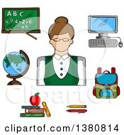 Clipart Of A Sketched Female Teacher Surrounded By School Supplies Such As Schoolbag Blackboard And Desktop Computer Globe And Pen Pencil Books And Apple Royalty Free Vector Illustration