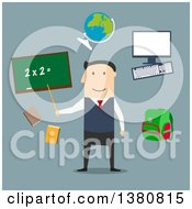 Clipart Of A Flat Design Male Teacher By Blackboard With Chalk Formula Books And Pen Laboratory Flasks And School Bag Exercise Book With Geometric Figures And Triangle Ruler On Blue Royalty Free Vector Illustration