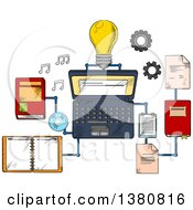 Clipart Of Sketched Web Education Or E Learning Technology Icons With Laptop Computer And Light Bulb Surrounded By A Variety Of Interconnected Books Royalty Free Vector Illustration