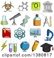 Clipart Of Sketched Science And Education Icons With College And Book Laboratory Glasses And Computer Microscope And Globe Graduation Cap And Pencil Compasses And Dna Atom And Biohazard Sign Electricity And Oxygen Royalty Free Vector Illustratio by Vector Tradition SM