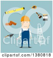 Clipart Of A Flat Design Male Builder With Trowel Brick And Measuring Tape Folding Ladder And Level Tool Paintbrush With Paint Can And Wheelbarrow On Blue Royalty Free Vector Illustration