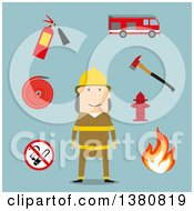 Clipart Of A Flat Design Fireman Flanked By Fire Axe Conical Bucket And Shovel Extinguisher And Fire Alarm Hydrant And Prohibition Sign On Blue Royalty Free Vector Illustration