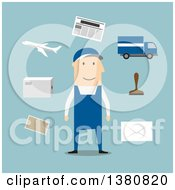Clipart Of A Flat Design White Male Postman With Postage Stamp Letterbox Package Van Airplane And Letters On Blue Royalty Free Vector Illustration