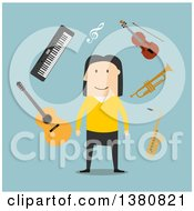 Clipart Of A Flat Design White Male Musician With Instruments On Blue Royalty Free Vector Illustration by Vector Tradition SM