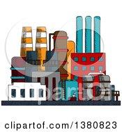 Clipart Of A Sketched Factory Building Royalty Free Vector Illustration by Seamartini Graphics