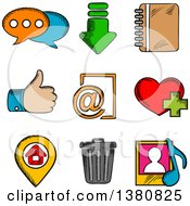 Clipart Of Sketched Multimedia Web Icons Set With Chat Download Notebook Like E Mail Home Favorite Media And Bin Symbols Royalty Free Vector Illustration by Vector Tradition SM