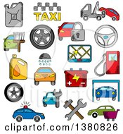 Sketched Car And Repair Service Icons Set With Car Sale Symbol Towing Paint And Washing Repair And Tire Service Taxi Fuel Jerrycan And Gas Station Wheel And Navigation Battery And Traffic Police Security System