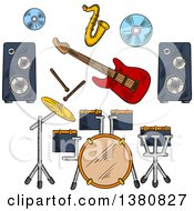 Clipart Of Sketched Musical Band Icons With Drum Set And Electric Guitar Instruments Drum Sticks And Saxophone Disks And Speakers Royalty Free Vector Illustration