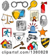Clipart Of Sketched Security Icons Royalty Free Vector Illustration