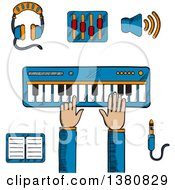 Clipart Of A Sketched Person Playing An Electronic Keyboard Earphones And Volume Sliders Megaphone Tablet Or MP3 Player And A Sound Jack Or Plug Royalty Free Vector Illustration by Vector Tradition SM