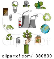 Clipart Of Sketched Environment And Ecological Conservation Icons With Recycling Electric Cars Green Leaves Eco Friendly Energy With A Radiation Symbol Gas Mask And Industrial Chimney Belching Fumes Royalty Free Vector Illustration