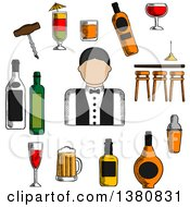 Clipart Of A Sketched Male Bartender Counter Alcohol Bottles And Shaker Corkscrew And Cocktails Beer Tankard And Wine Glass Barman In Uniform With Bow Tie Royalty Free Vector Illustration