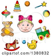 Clipart Of A Sketched Girl Surrounded By Her Toys As Bear Horse Duck Rattle Train Ball Pyramid And Whirligig Royalty Free Vector Illustration by Vector Tradition SM