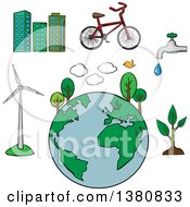 Clipart Of Sketched Environment And Ecology Icons Set With Eco Friendly City Tree And Bicycle Green Energy And Natural Resources Protection Royalty Free Vector Illustration