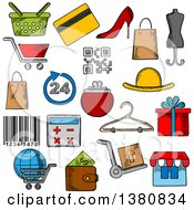 Clipart Of Sketched Shopping Retail Industry And Commerce Icons With Shopping Cart Basket And Bags Credit Card Wallet Money Delivery And Barcode Store Qr Code Gift Box And Calculator Shoes And Hat Royalty Free Vector Illustration