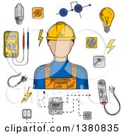 Poster, Art Print Of Sketched Electrician In Yellow Hard Hat Electrical Household Supplies Electric Tools And Equipments Symbols For Industrial Design Usage