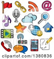 Clipart Of Sketched Multimedia And Communication Icons With Smartphone Microphone Music And Video Player Email And Search Chat And Call Symbols Cloud Storage Favorite Star And Flag Pin Home And Notebook Rss Feed And Wi Fi Router Royalty Free V by Vector Tradition SM