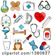 Sketched Hospital And Pharmacy Signs Nurse And Ambulance First Aid Box And Pills Syringe Stethoscope And Heart Ecg Tooth And Glasses Dna Medication And Microscope