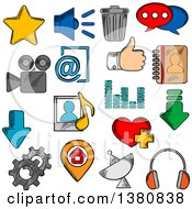 Clipart Of Sketched Social Media Icons With Chat Speech Bubble And E Mail Load And Thumb Up Map Pin And Home Page Favorite Star And Heart Video And Contacts Playlist And Equalizer Trash And Gear Headphones And Speaker Royalty Free Vector Illust by Vector Tradition SM