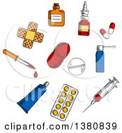 Clipart Of Sketched Capsules And Blister Of Pills Nose And Throat Spray Syringe Drops Bottle And Dropper Sticking Plaster And Ointment Tube Royalty Free Vector Illustration