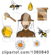 Clipart Of A Sketched Beekeeper In Hat And Apiculture Symbols Around Him Including Honey Jar Flying Bees Flowers Wooden Beehive And Dipper With Drop Of Liquid Honey Royalty Free Vector Illustration